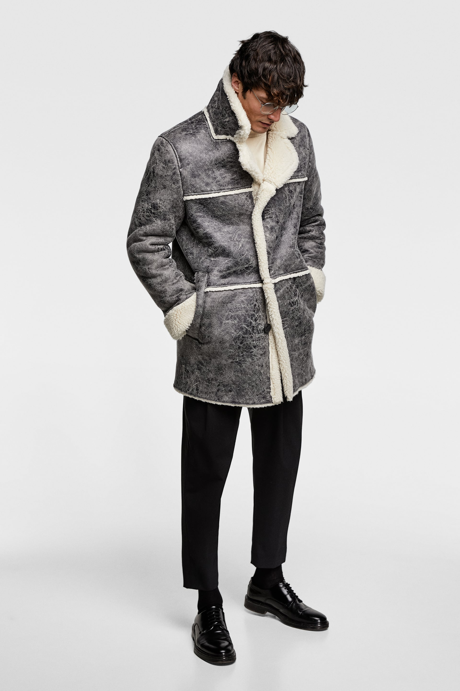 Double Faced Faux Leather Coat Faux Shearling Outerwear Man by Zara
