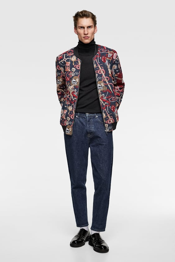 1b0e3c2ba6 Image 1 of QUILTED JACQUARD BOMBER JACKET from Zara