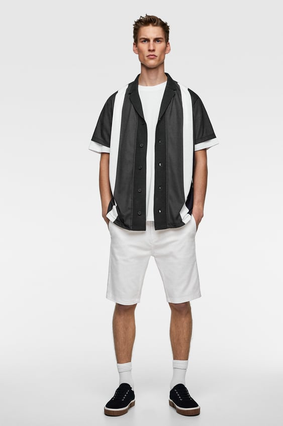 Trui Met Overhemd Heren.Gestructureerd Tricot Overhemd Korte Mouw Truien Heren Zara