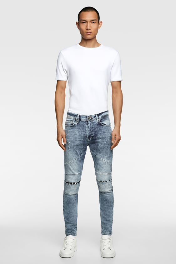 4035b670 RIPPED JEANS WITH PATCHES - Distressed-JEANS-MAN | ZARA Canada