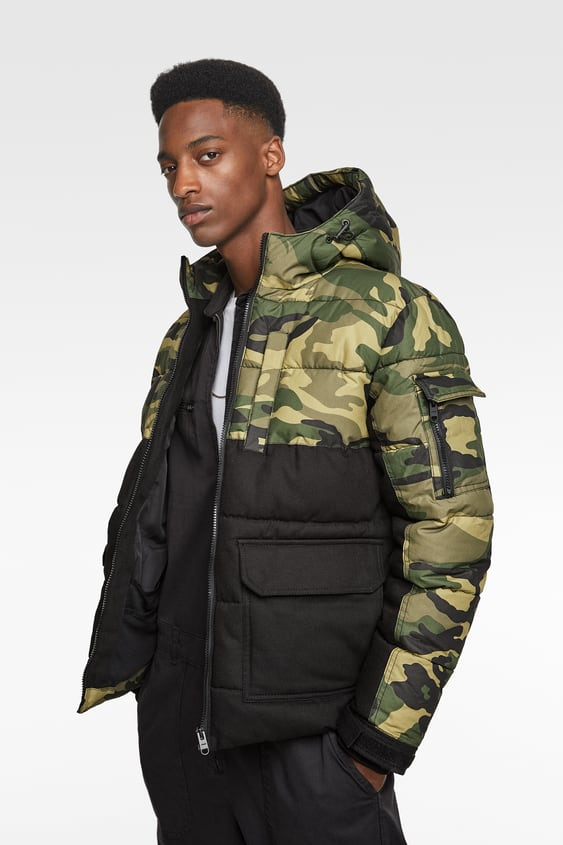 90b848839d10e BLENDED CAMOUFLAGE PADDED JACKET - Puffers-JACKETS-MAN-SALE | ZARA ...