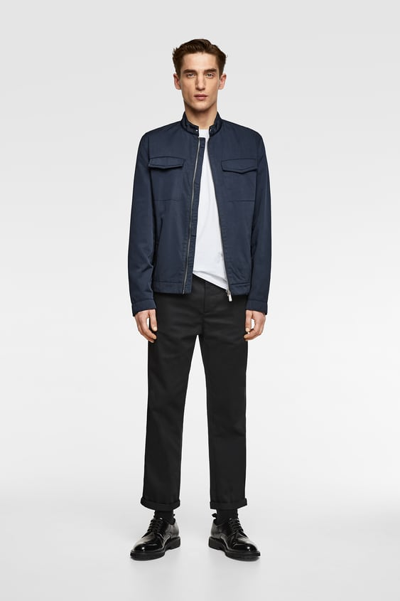 Jacket With Faux Leather Trim  New Inman New Collection by Zara