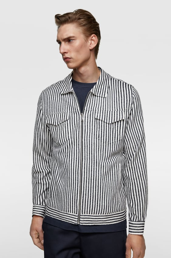 8efdaca2 TEXTURED STRIPE JACKET - Available in more colours