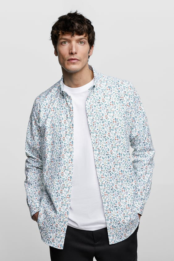b72c19cd21a STRETCH FLORAL PRINT OXFORD SHIRT - Available in more colours