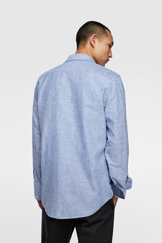 2f5e779e75 STRIPED TABBED SLEEVE SHIRT