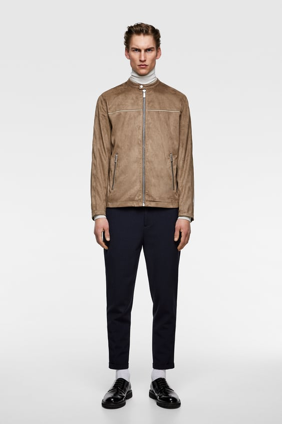 3c22361a93 Shoptagr | Piped Faux Suede Jacket View All Jackets Man Sale by Zara
