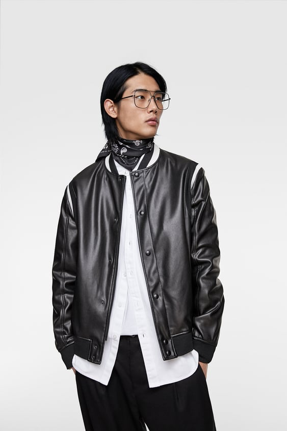 bd2b3fc80 FAUX LEATHER BOMBER JACKET