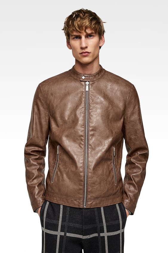 8646e9cc Men's Faux Leather Jackets | New Collection Online | ZARA India