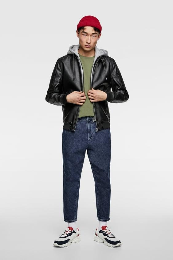 57962c6e CONTRAST FAUX LEATHER JACKET - Hooded-JACKETS-MAN-SALE | ZARA United ...