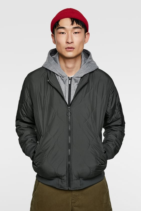 3f96709d96352 HOODED BOMBER JACKET WITH CONTRAST LINING - Available in more colours