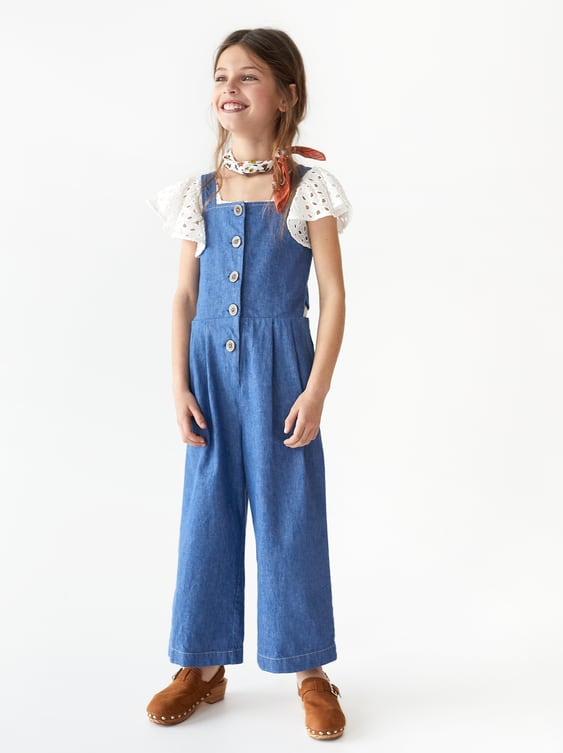 61b68d43f20 BUTTONED DENIM JUMPSUIT - CASUAL-DRESSES AND JUMPSUITS-GIRL | 5-14 ...