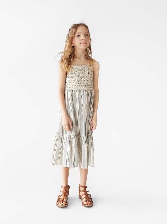 346afd08 STRIPED DRESS WITH GUIPURE MOTIFS - DRESSES AND JUMPSUITS-GIRL   5 ...