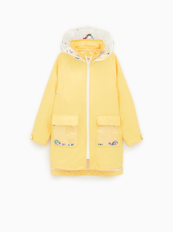 0805bb47e629 TRANSPARENT RAINCOAT WITH SEQUINS - COATS AND JACKETS-GIRL