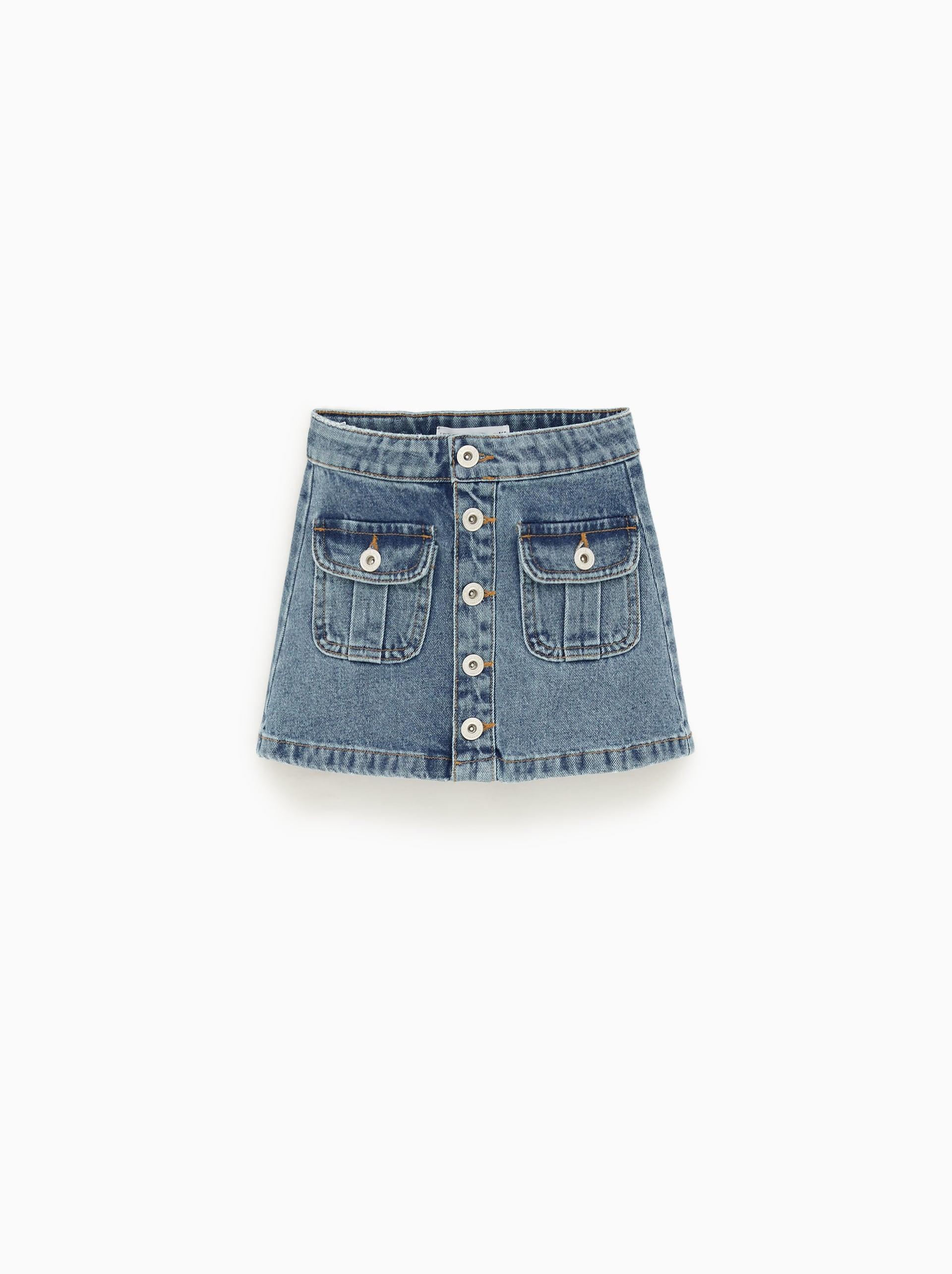 cceb03ad9 Button Front Denim Skirt Zara