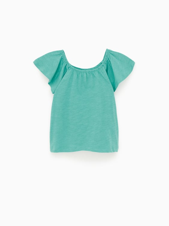 Elasticated T  Shirt With Ruffles Girl Kids Join Life by Zara