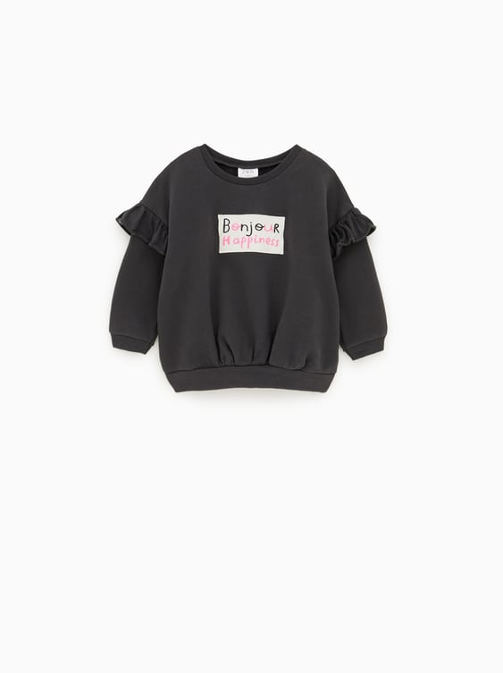 RUFFLED SWEATSHIRT WITH TEXT 2c615dae98c