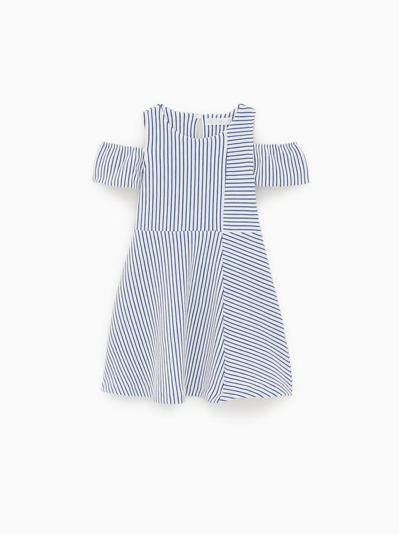 3426ebcea STRIPED COLD SHOULDER DRESS - CASUAL-DRESSES AND JUMPSUITS-GIRL