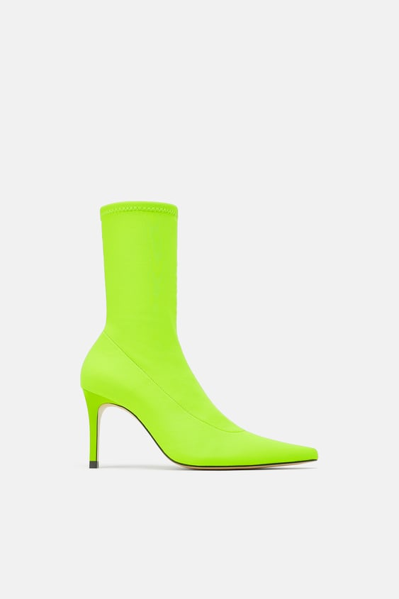 7664c55096c3 Image 2 of FLUORESCENT SOCK STYLE HEELED ANKLE BOOTS from Zara