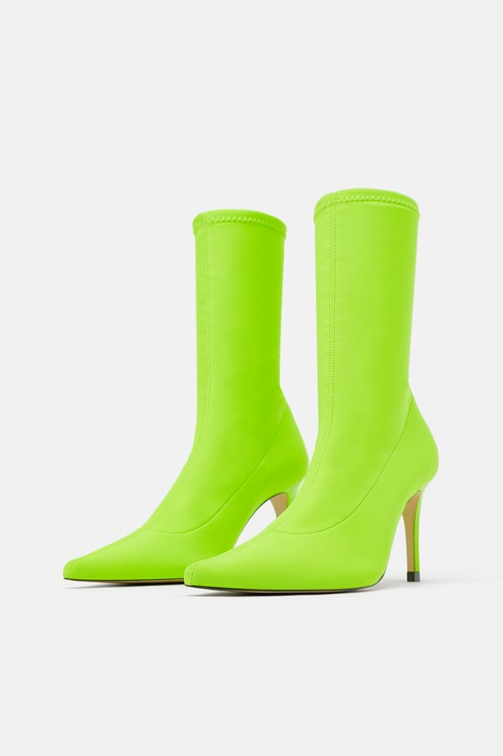 f91188117615 Image 1 of FLUORESCENT SOCK STYLE HEELED ANKLE BOOTS from Zara