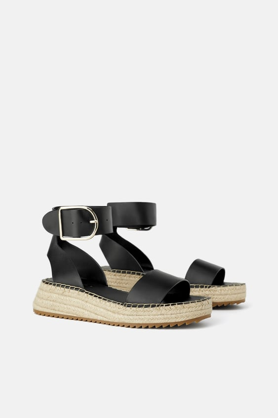 7918db1573 LEATHER MINI WEDGES WITH ANKLE STRAP - SHOES-WOMAN-SHOES&BAGS | ZARA ...