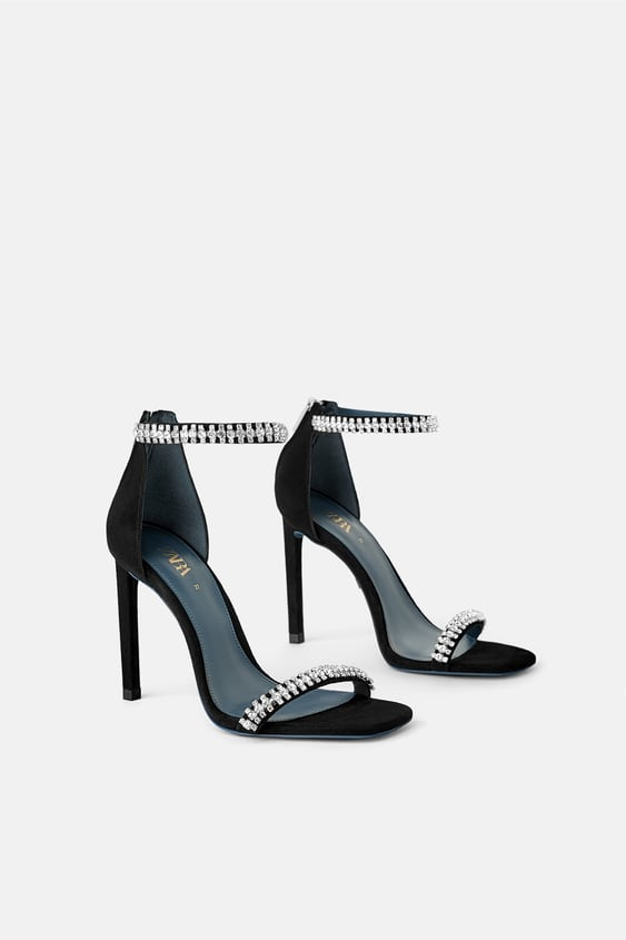 Blue Collection Leather Mid Heel Sandals Shoes by Zara
