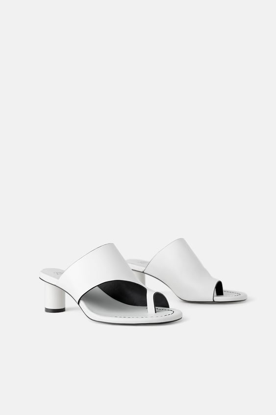 Round Heeled Leather Mules Sandals Shoes Woman Sale by Zara