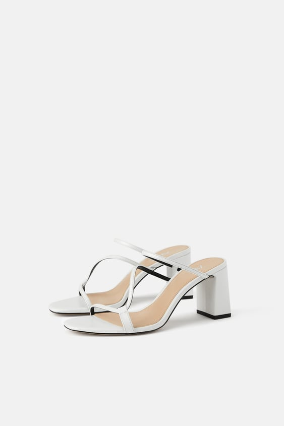 Wide Heeled Strappy Sandals  White Shoeswoman Shoes by Zara