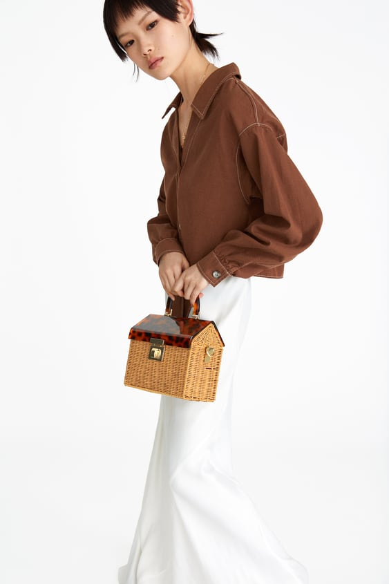 Raffia City Bag With Tortoiseshell  View All Bags Woman by Zara