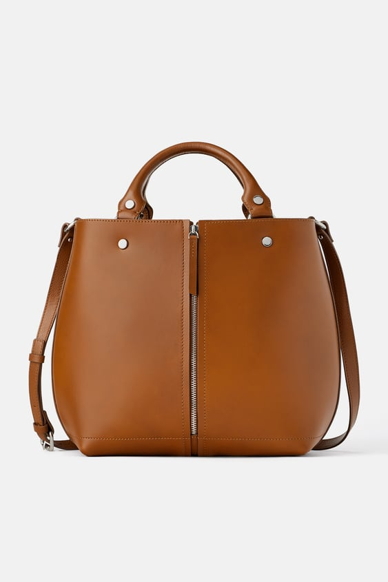LEATHER TOTE BAG WITH ZIP DETAIL - Available in more colours e2a44a7673836