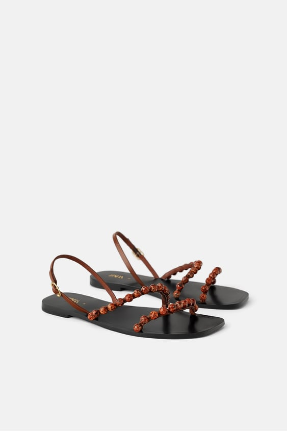 6d5ccac26698 LEATHER FLAT SANDALS WITH BEAD DETAILS - Sandals-SHOES-WOMAN