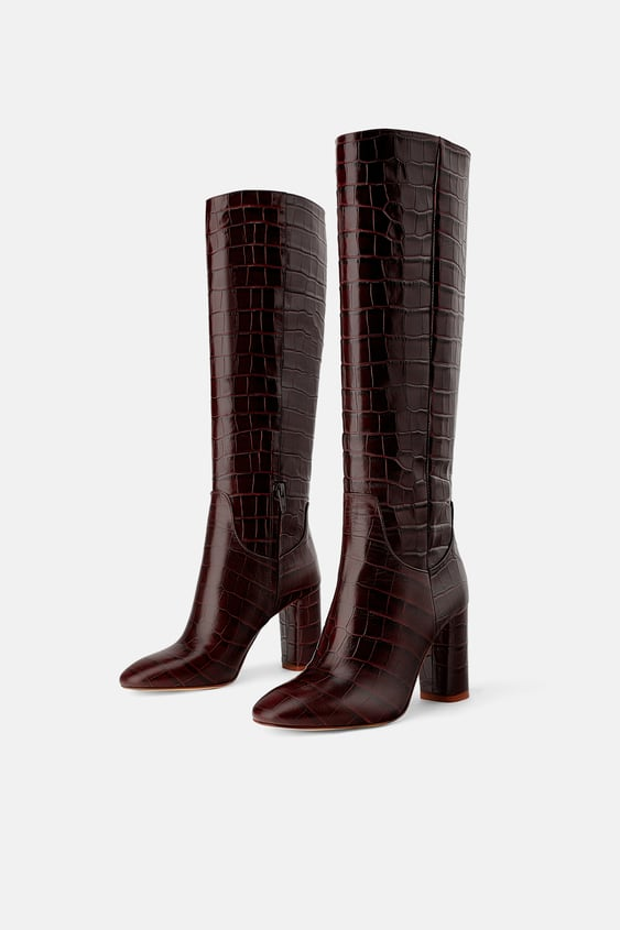 1d5148dc739 Image 2 of ANIMAL PRINT HEELED LEATHER BOOTS from Zara