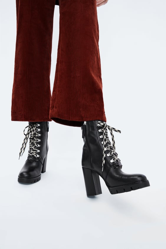 Leather Hiking Style Heeled Ankle Boots  Booties Shoes Woman by Zara