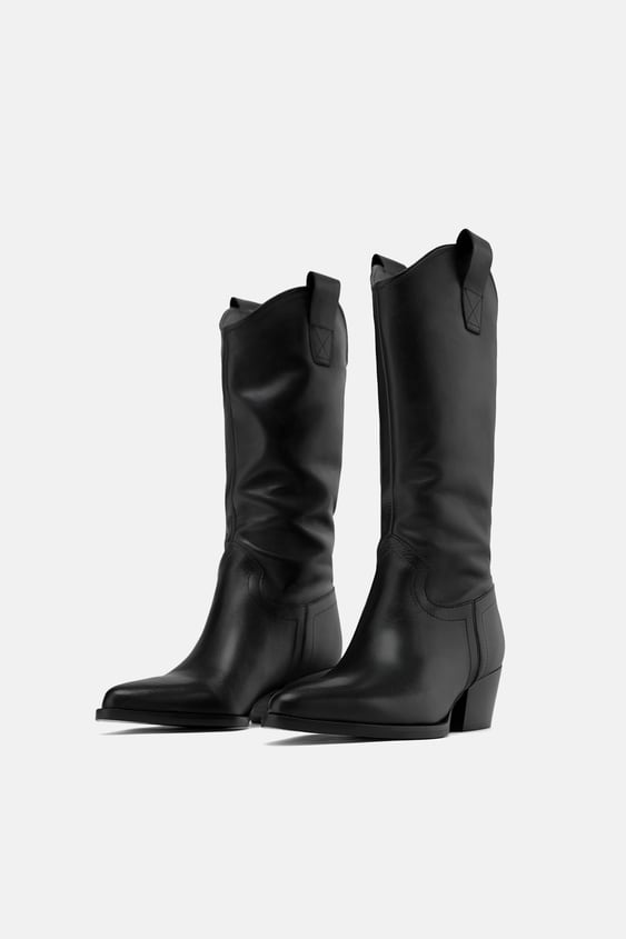 Heeled Leather Cowboy Boots  Momwoman Corner Shops New Collection by Zara