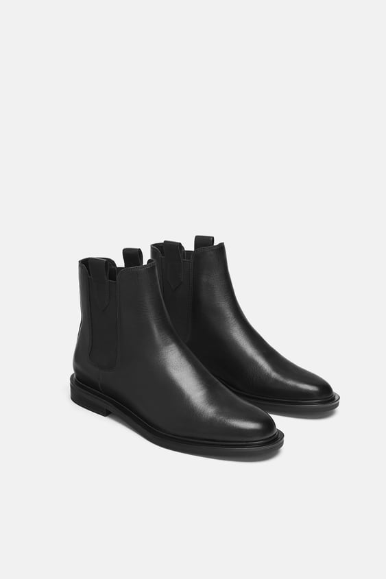 Low Heel Leather Ankle Boots With Pull Tabs  View All Shoes Woman by Zara
