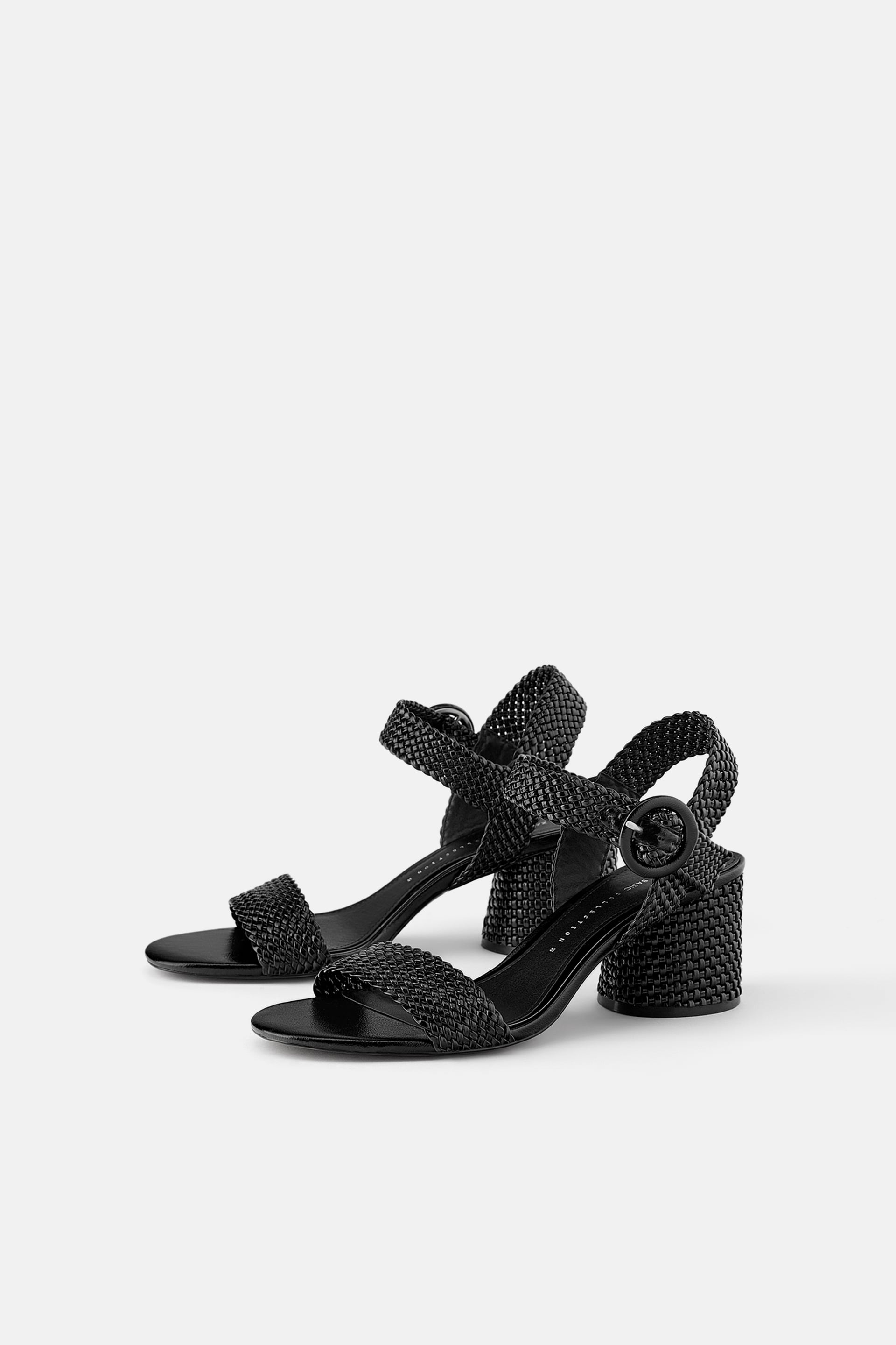 Wide Heeled Woven Sandals View All Shoes Woman by Zara