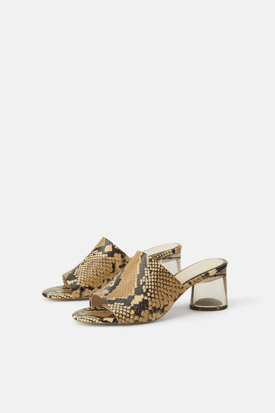 High Heel Mules With Methacrylate Heel  Mules Shoes Woman by Zara