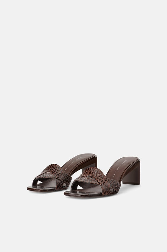 ANIMAL EMBOSSED LEATHER HEELED MULES - DRESS TIME-WOMAN-CORNER SHOPS ...