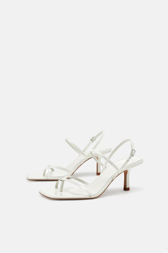 reputable site online for sale best price STRAPPY MID-HEEL LEATHER SANDALS