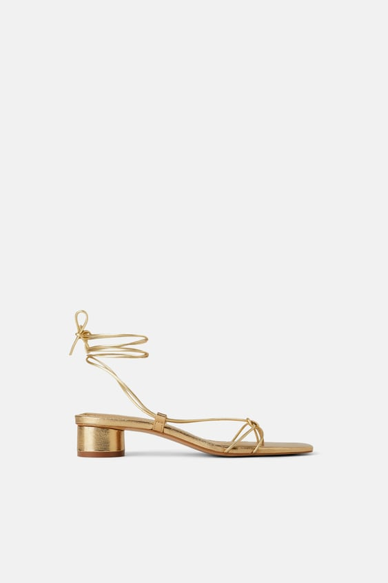 Heeled Leather Sandals With Thin Straps Special Priceswoman by Zara