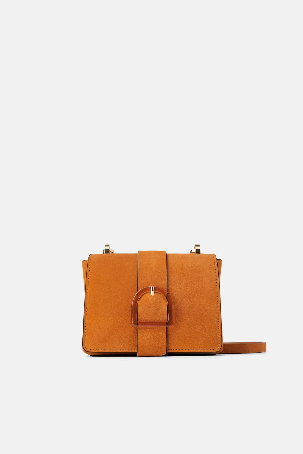 Image 2 of SPLIT LEATHER CROSSBODY BAG WITH BUCKLED FLAP from Zara