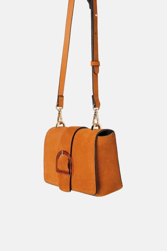 SPLIT LEATHER CROSSBODY BAG WITH BUCKLED FLAP - View all-BAGS-WOMAN ...