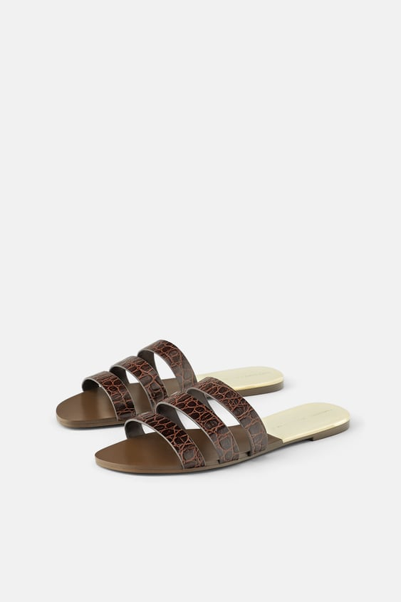 56c0eb627 ANIMAL PRINT LEATHER FLAT SANDALS - View all-SHOES-WOMAN | ZARA Spain