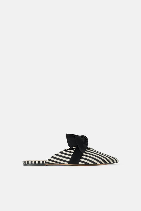 6314c7a6387 STRIPED CANVAS MULES WITH BOWS