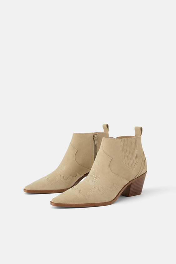 Split Suede Cowboy Heel Ankle Boots Shoestrf Shoes&Amp;Bags by Zara