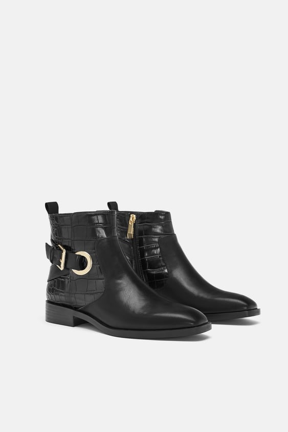 Flat Ankle Boots With Buckles  View All Shoes Woman by Zara