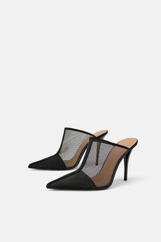 Heeled Mesh Mules  Womanshoes New Collection by Zara
