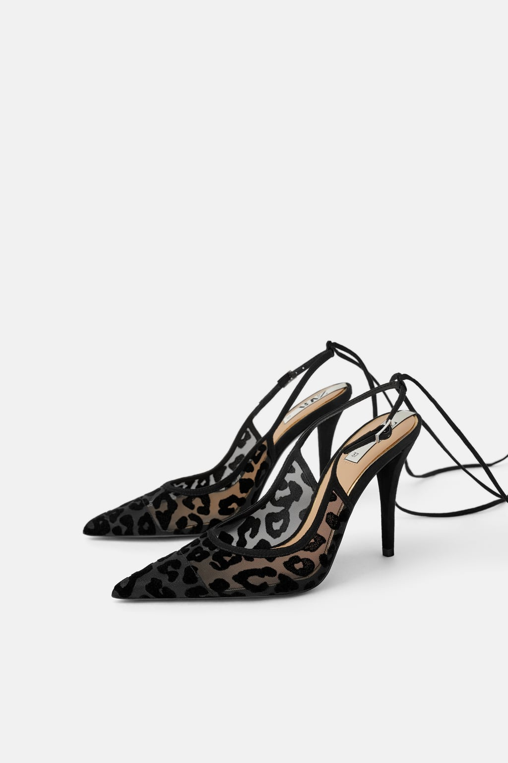 Image 1 of ANIMAL PRINT SLINGBACK VELVET HIGH-HEEL SHOES from Zara
