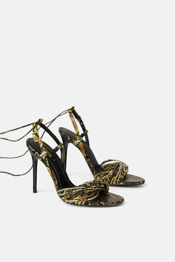 a1fc6dd9016 Image 1 of HIGH-HEEL SANDALS WITH ANIMAL PRINT STRAPS from Zara