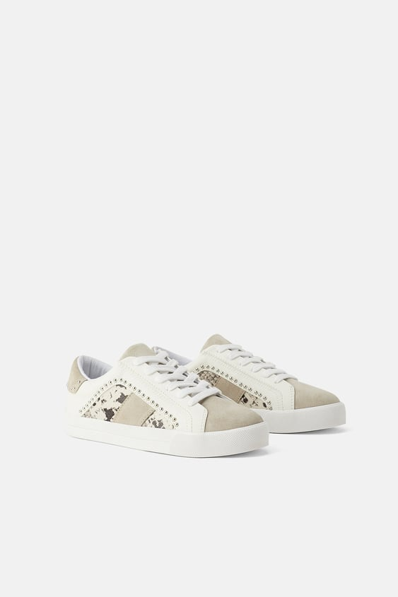 Animal Print Studded Sneakers  Sneakers Shoes Woman by Zara