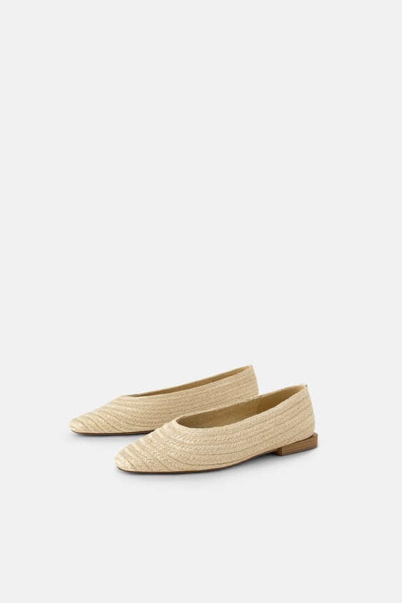 Raffia Ballet Flats  Starting From 70 Percents Offsale Woman by Zara